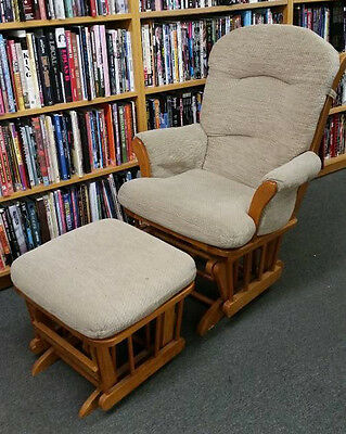 Beige glider rocker rocking chair + ottoman -- come by our shop to see it