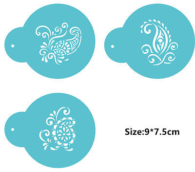 3 Pcs Packed EU Flowers Cookie Cake Stencil Decorate Mould Fondant Biscuit Tool