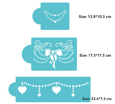 3 Pcs Packed Flower Side Cookie Cake Stencil Decorate Mould Fondant Biscuit Tool