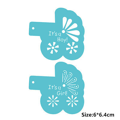 2 Pcs Packed Baby Pram Cookie Cake Stencil Decorate Mould Fondant Biscuit Tool
