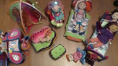 Lot 5  Groovy girls dolls 1 dog and 6 furniture items and 1 tent few clothes
