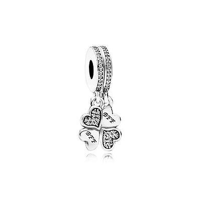 Authentic Pandora Sterling Silver Best Friends Forever Dangle Charm 791949CZ