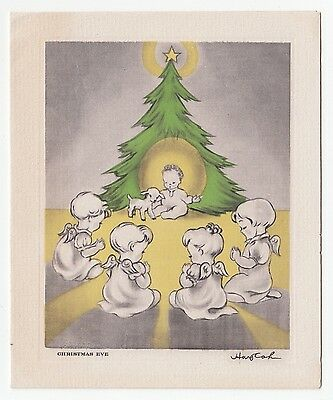 Vintage Greeting Card Christmas Angel Baby Jesus Lamb Artist Signed L35