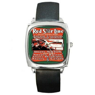 Red Star Line Vintage Poster Repro Square Wristwatch **great Item ***
