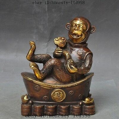 "7""Lucky Chinese Bronze Gilt Fengshui Animal Wealth Money Coin Ruyi Monkey Statue"
