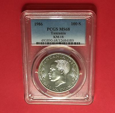 Tanzania -1986,100 Shilling ,certified by PCGS MS68 coin.