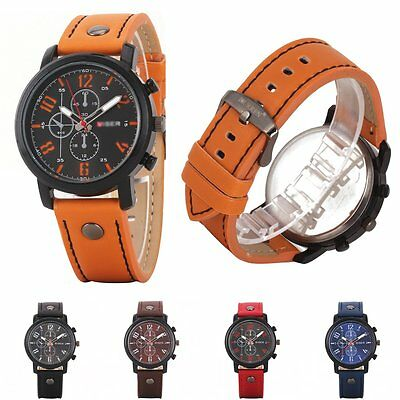 Fashion Men's Leather Sport Analog Quartz Stainless Steel Wrist Watch Waterproof