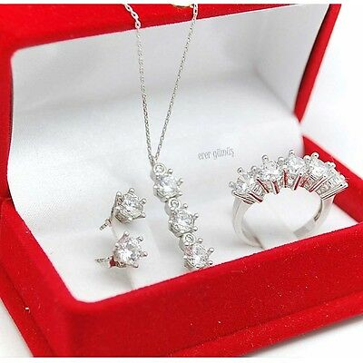 925 Sterling Silver Handcraft Jewelry White Cubic Zirconia Sets