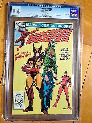 CGC 9.4 Daredevil #196 *White Pages* VERY RARE!*Double Cover!*Wolverine App.*