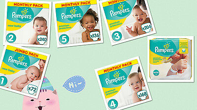 Pampers Premium Protection Nappies Monthly Saving Pack  Size  0,1,2,3,4,5 Comfor