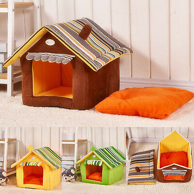 Foldable Pet House&Bed Dog Cat Soft Kennel Mat Pad Warm Puppy Cushion Basket New