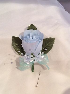Baby / Pale / Light Blue Silk Rose Buttonholes Weddings / Prom-Artificial Flower