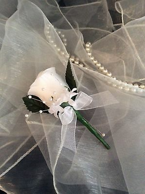 White Silk Rose Buttonholes - Weddings / Proms Artificial Single Flower ❤️