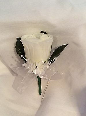 Ivory Silk Rose Buttonholes - Weddings / Proms Artificial Single Flower