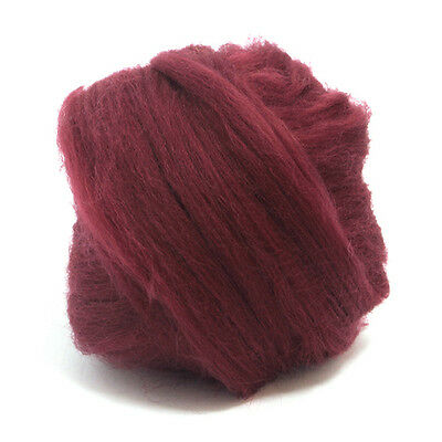 50g Dyed Merino Wool Top Claret Red Dreads Needle Spinning Felting Roving