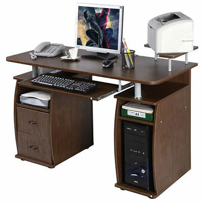 Wood Computer Desk Home Workstation Office Furniture Drawer Shelf Laptop Table &