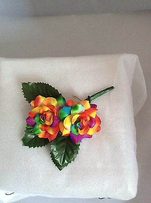 Rainbow - Multi Coloured Silk Rose Buttonhole - Artificial Flower - Weddings