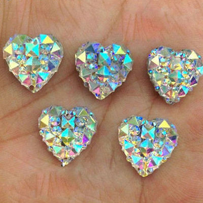 50Pcs Heart Shape Faced Flat Back Resin Charms Beads Craft Decor DIY 12mm Gifts