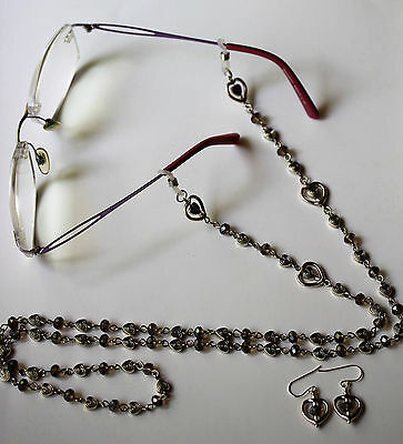 Silver Hearts and Crystal Reading Eyeglasses Beaded Lanyard Chain Holder