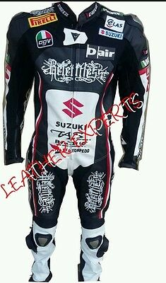 Suzuki  Black Motorbike/ Motorcylce Leather  Suit- Ce Approved Full Protection