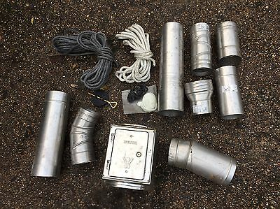 "Job Lot Of Log Burner Fittings And Fire Rope, 5"" 6"" Flue, Hetas Stove, Stainless"