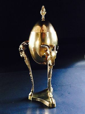 Vintage Brass Rams Heads Tripod Covered Egg Urn Occult Pagan Goat Chalice