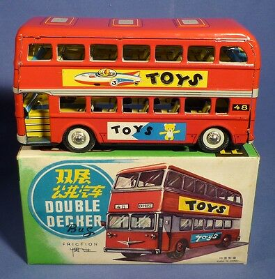 China Blech MF 844 Double Decker Bus Friktion OVP vintage tin toy boxed H163
