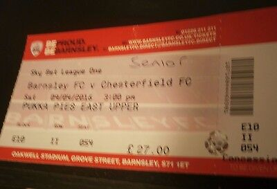 Barnsley v Chesterfield 9th April 2016 League Match Ticket