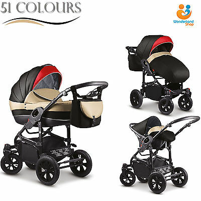 Modern Baby Pram Pushchair Stroller Buggy CAR SEAT SWIVEL WHEELS Kinderwagen