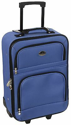 New Royal Blue Travel Carry On Suitcase On Wheels With Extendable Handle