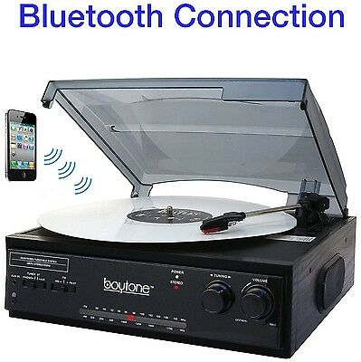 Boytone BT-13B with Bluetooth Connection 3-Speed Stereo Turntable Belt Drive ...