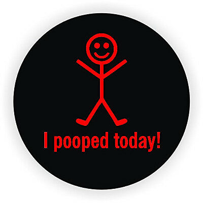 "I Pooped Today (3 Pack) Hard Hat Printed Sticker (size: 2"" color: Black/Red)"