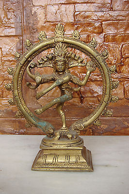 Antique Bronze Carved Hindu Lord Shiva Nataraja Lord Of Dance Figure Statue no.2
