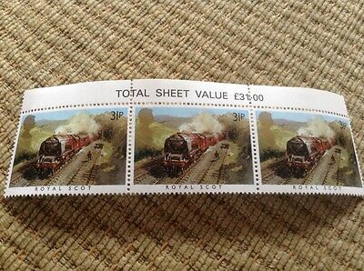 """""""The Royal Scot"""" 1985 3 x Train Railway stamps - Unmounted Mint"""