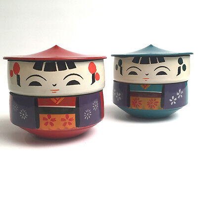 2 Vintage Japanese Kokeshi Doll Bento Box Hand Painted Lacquer Japan 1950's