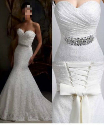 New White/Ivory Lace Mermaid Wedding Dresses Gown Stock Size 6-8-10-12-14-16