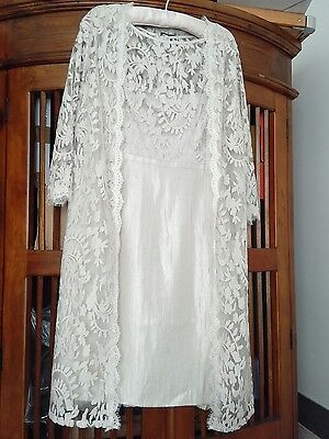 Bnwt Adrianna Papell Champagne Dress & Lace Coat Suit Size 14 Mother Of Bride