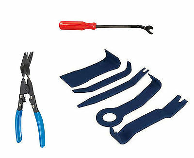 7pc Car Door Upholstery Trim Clip Removal Pliers & Body Moulding Removing Tools
