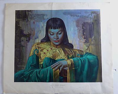 Vintage Retro Lady From Orient Original Lithograph Print Tretchikoff Unframed