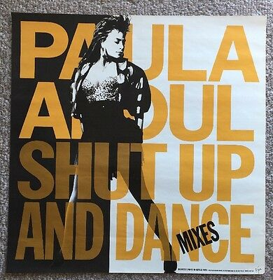 PAULA ABDUL Promo Poster 1990 SHUT UP AND DANCE MIXES Mint Condition Poster