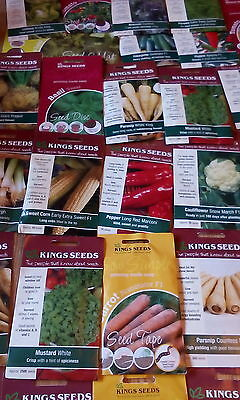 10 different packets Kings vegetable seeds, job lot