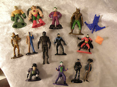 Dc Comics Mini Action Figures Lot Of 13 Heroes & Bad Guys + 2 Accessories Nice