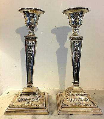 Super Pair Of Silver Plated 19th Century Neo Classical Adams Style Candlestick