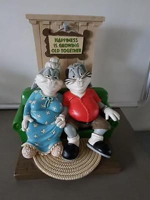 Extremely Rare! Looney Tunes Bugs & Lola Bunny Growing Old Together Statue 1994