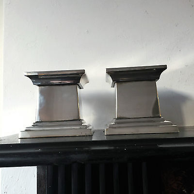 Vintage Pair Of Silver Plate On Coppper  Pillar Candle Holders By Potterbarn