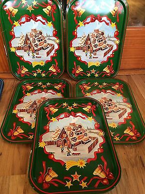 Set Of 5 Vintage Metal Christmas Gingerbread House Lap TV Trays
