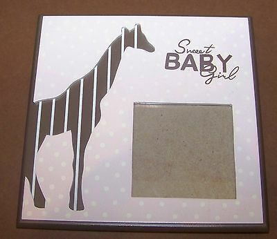 Giraffe Picture Photo Frame Sweet Baby Girl Brown Pink Polka Dots 6 x 6