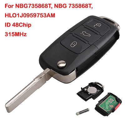 For VW HLO1J0959753AM 4 BTN New Remote Keyless Key Flip Replacement Entry Fob
