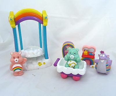 Care Bears Wish Bear Figure Care A Lot Cloud Swing Playset Toy Furniture Lot Set