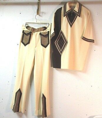 Vtg Blye of Florence Mens 2 Pc Casual Knit Pants Suit 70's Disco Chic Large/32